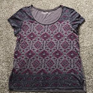 Lucky Brand Pink and Grey Pattern Tee - Size M